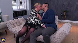 Boy fucks granny in ass and pussy