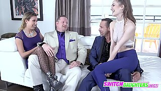 Daddies get together and switch daughters for a hard banging