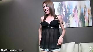 Beautiful ladyboy shows off uncut girl dick in POV